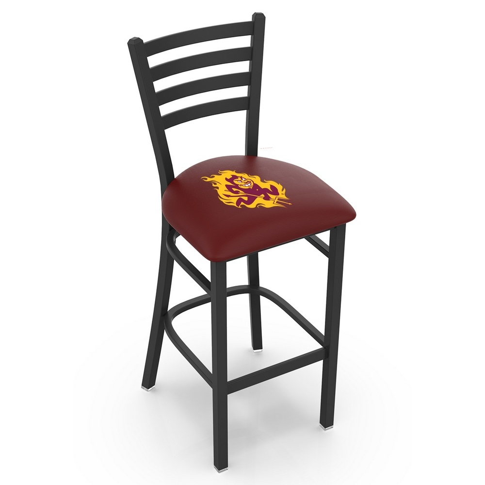 Holland Bar Stool Co L004-25 Black Wrinkle Arizona State Stationary Counter Stool with Ladder Style Back and Sparky Logo by The