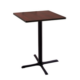 """36"""" Tall Counter Height 211 Table with a Black Wrinkle Finish, 30""""x30"""" X-Style Base and a Square Reversable (Black or Dark Cherry) Top"""
