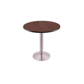 """30"""" Tall Dining Height 214 Table with a Stainless Finish, 16"""" Diameter Round Footed Base and a Reversable (Black or Dark Cherry) Top"""