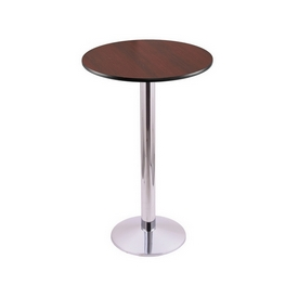 """36"""" Tall Counter Height 214 Table with a Chrome Finish, 16"""" Diameter Round Footed Base and a Reversable (Black or Dark Cherry) Top"""
