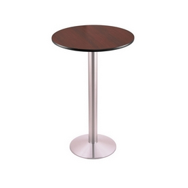 """36"""" Tall Counter Height 214 Table with a Stainless Finish, 16"""" Diameter Round Footed Base and a Reversable (Black or Dark Cherry) Top"""