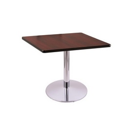"""30"""" Tall Dining Height 214 Table with a Chrome Finish, 22"""" Diameter Round Footed Base and a Square Reversable (Black or Dark Cherry) Top"""