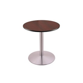 """30"""" Tall Dining Height 214 Table with a Stainless Finish, 22"""" Diameter Round Footed Base and a Reversable (Black or Dark Cherry) Top"""