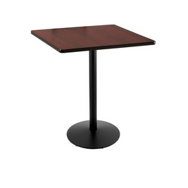 """36"""" Tall Counter Height 214 Table with a Black Wrinkle Finish, 22"""" Diameter Round Footed Base and a Square Reversable (Black or Dark Cherry) Top"""