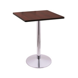 """36"""" Tall Counter Height 214 Table with a Chrome Finish, 22"""" Diameter Round Footed Base and a Square Reversable (Black or Dark Cherry) Top"""
