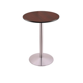"""36"""" Tall Counter Height 214 Table with a Stainless Finish, 22"""" Diameter Round Footed Base and a Reversable (Black or Dark Cherry) Top"""