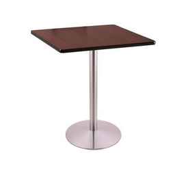 """36"""" Tall Counter Height 214 Table with a Stainless Finish, 22"""" Diameter Round Footed Base and a Square Reversable (Black or Dark Cherry) Top"""