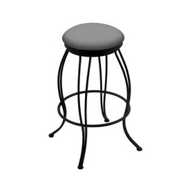 """3000 Georgian 30"""" Swivel Bar Stool with Black Wrinkle Finish and Canter Folkstone Grey Seat"""