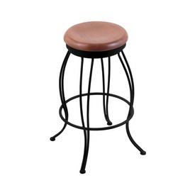 "3000 Georgian 30"" Swivel Bar Stool with Black Wrinkle Finish and Medium Oak Seat"