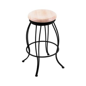 """3000 Georgian 30"""" Swivel Bar Stool with Black Wrinkle Finish and Natural Maple Seat"""