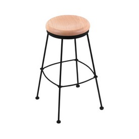 3030 Stationary Stool with Black Wrinkle Finish and Natural Oak Seat