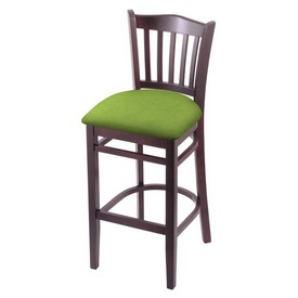 "3120 30"" Bar Stool with Dark Cherry Finish and Canter Kiwi Green Seat"