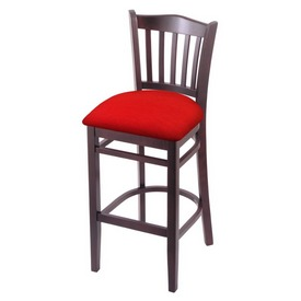 "3120 30"" Bar Stool with Dark Cherry Finish and Canter Red Seat"
