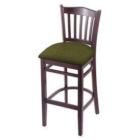 """3120 30"""" Bar Stool with Dark Cherry Finish and Graph Parrot Seat"""