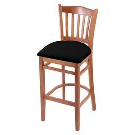 "3120 30"" Bar Stool with Medium Finish and Black Vinyl Seat"