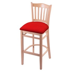 "3120 30"" Bar Stool with Natural Finish and Canter Red Seat"