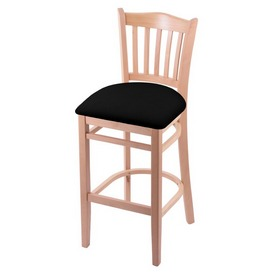 "3120 30"" Bar Stool with Natural Finish and Black Vinyl Seat"