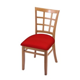 """3130 18"""" Chair with Medium Finish and Canter Red Seat"""