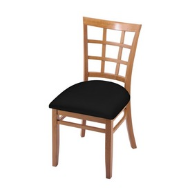 """3130 18"""" Chair with Medium Finish and Black Vinyl Seat"""