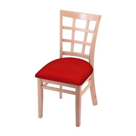 """3130 18"""" Chair with Natural Finish and Canter Red Seat"""