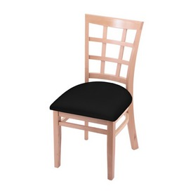 """3130 18"""" Chair with Natural Finish and Black Vinyl Seat"""