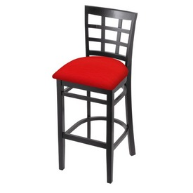 3130 Stool with Black Finish and Canter Red Seat