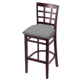 3130 Stool with Dark Cherry Finish and Canter Folkstone Grey Seat