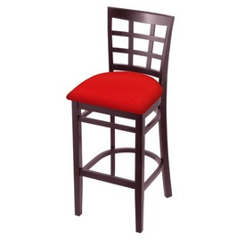 3130 Stool with Dark Cherry Finish and Canter Red Seat