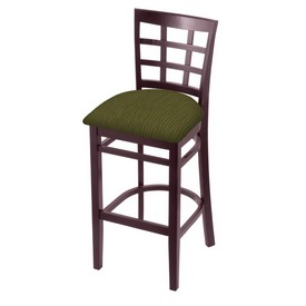 3130 Stool with Dark Cherry Finish and Graph Parrot Seat