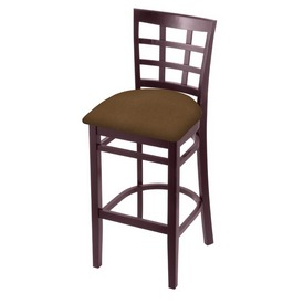 3130 Stool with Dark Cherry Finish and Rein Thatch Seat