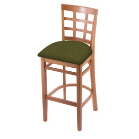 3130 Stool with Medium Finish and Graph Parrot Seat