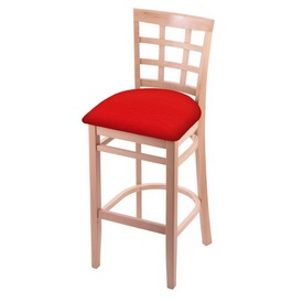 3130 Stool with Natural Finish and Canter Red Seat