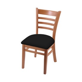 """3140 18"""" Chair with Medium Finish and Black Vinyl Seat"""