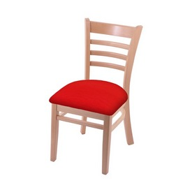 """3140 18"""" Chair with Natural Finish and Canter Red Seat"""