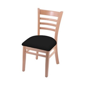 """3140 18"""" Chair with Natural Finish and Black Vinyl Seat"""