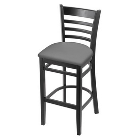 3140 Stool with Black Finish and Canter Folkstone Grey Seat