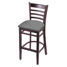 3140 Stool with Dark Cherry Finish and Canter Folkstone Grey Seat