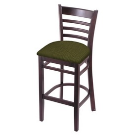 3140 Stool with Dark Cherry Finish and Graph Parrot Seat