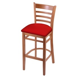 3140 Stool with Medium Finish and Canter Red Seat