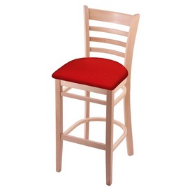 3140 Stool with Natural Finish and Canter Red Seat