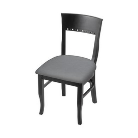 """3160 18"""" Chair with Black Finish and Canter Folkstone Grey Seat"""