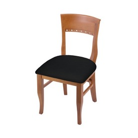 """3160 18"""" Chair with Medium Finish and Black Vinyl Seat"""