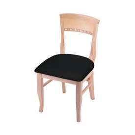 """3160 18"""" Chair with Natural Finish and Black Vinyl Seat"""