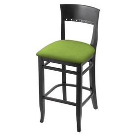 """3160 30"""" Bar Stool with Black Finish and Canter Kiwi Green Seat"""