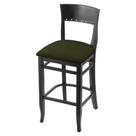 """3160 30"""" Bar Stool with Black Finish and Canter Pine Seat"""