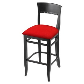 """3160 30"""" Bar Stool with Black Finish and Canter Red Seat"""