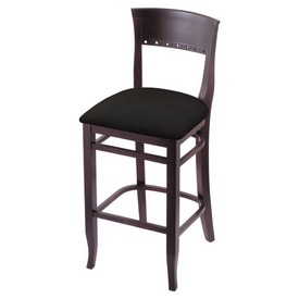 """3160 30"""" Bar Stool with Dark Cherry Finish and Canter Espresso Seat"""