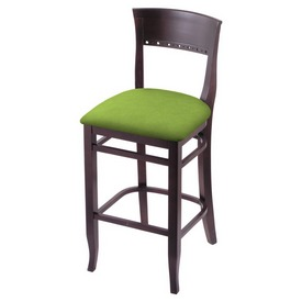 """3160 30"""" Bar Stool with Dark Cherry Finish and Canter Kiwi Green Seat"""