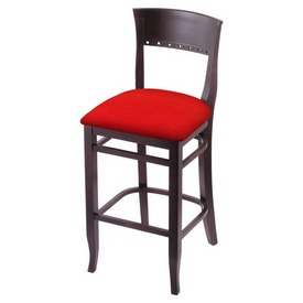 """3160 30"""" Bar Stool with Dark Cherry Finish and Canter Red Seat"""