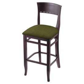 """3160 25"""" Counter Stool with Dark Cherry Finish and Graph Parrot Seat"""